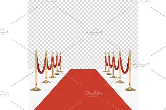 Red carpet with red ropes on golden stanchions