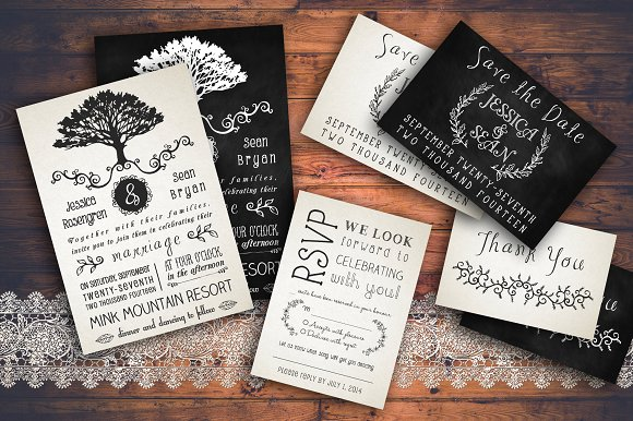 Rustic Wedding Invitation Pack Invitations
