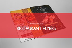3 Restaurant Flyers / Ads Templates