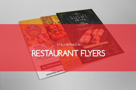 3 Restaurant Flyers Ads Templates