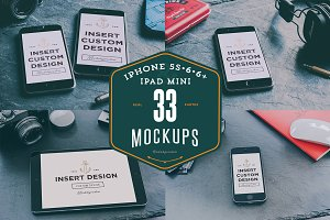 33 iPhones 5s, 6, 6+ & iPad mockups