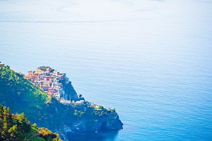 View on architecture of Corniglia town from above. One of five famous colorful villages of Cinque Terre National Park in Italy