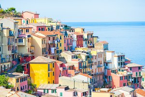 View on architecture of Riomaggiore town. Riomaggiore is one of the most popular old village in Cinque Terre, taly