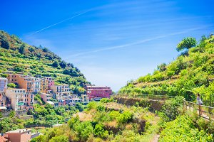 View on architecture of Manarola village. Beautiful city is one of the most popular old village in Cinque Terre, taly