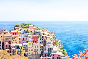 Amazing view of the beautiful village of Manarola from above in Cinque Terre reserve. Liguria region of Italy.