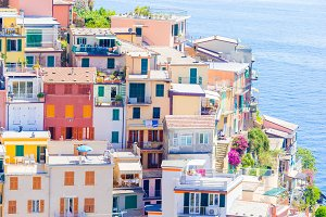 Closeup of beautiful and cozy village of Manarola in the Cinque Terre reserve. Most popular town on the Ligurian coast