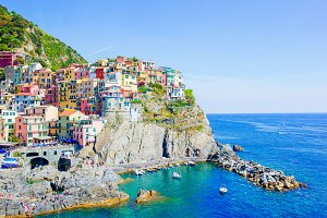 Beautiful view of the amazing village of Manarola in the Cinque Terre reserve. Liguria region of Italy.