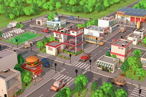 Low Poly Cartoon City Pack