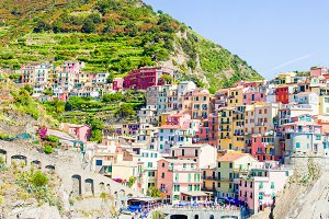 Amazing view of the beautiful and cozy village of Manarola in the Cinque Terre Reserve. Liguria region of Italy.