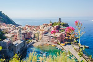 Beautiful view of Vernazza from above. One of five famous colorful villages of Cinque Terre National Park in Italy