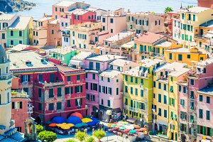 View on beautiful Vernazza town from above. Vernazza is one of the most popular old village in Cinque Terre, Italy