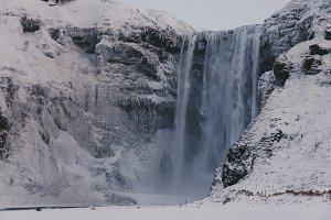 Frozen Waterfall in Winter (Iceland)