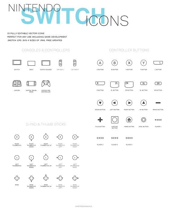 67f31846f2e Nintendo Switch Icon Set Icons Creative Market