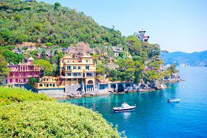 Beautiful sea coast with colorful houses in Portofino, Italy. Summer landscape.