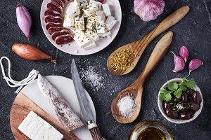 Feta, olives and salami
