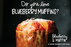 Blueberry Muffin hand drawn font duo
