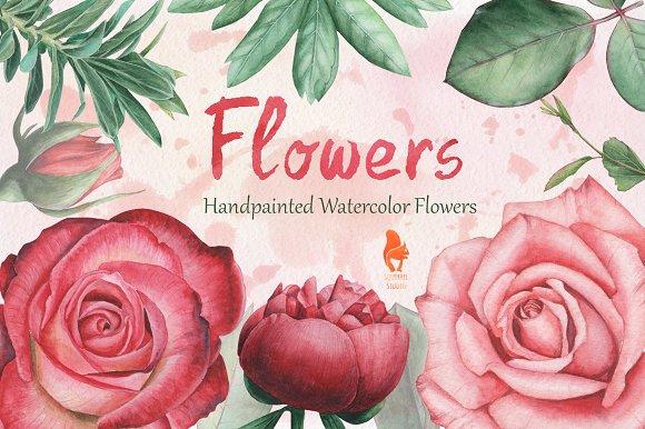 Flowers Handpainted Watercolor