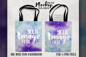 Tote bag front and back mockup