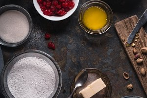 Ingredients for cooking cannoli of traditional Italian dessert