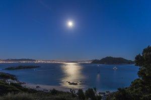 Moon shining on sea