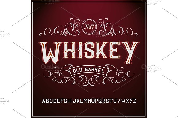 Vintage Label Font Whiskey Label Style With Vintage Ornament