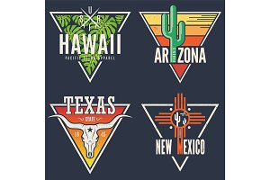 Set of Hawaii Arizona Texas New Mexico tee prints.