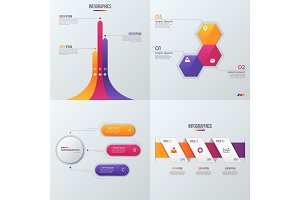 Collection of vector templates for infographics with 3 options