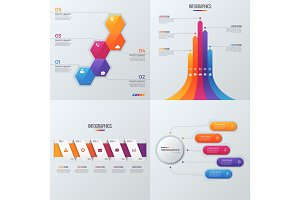 Collection of vector templates for infographics with 5 options