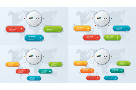 Set Of Presentation Business Infographic Templates With 3-6 Opti