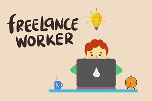 Freelancer Worker Illustrasion
