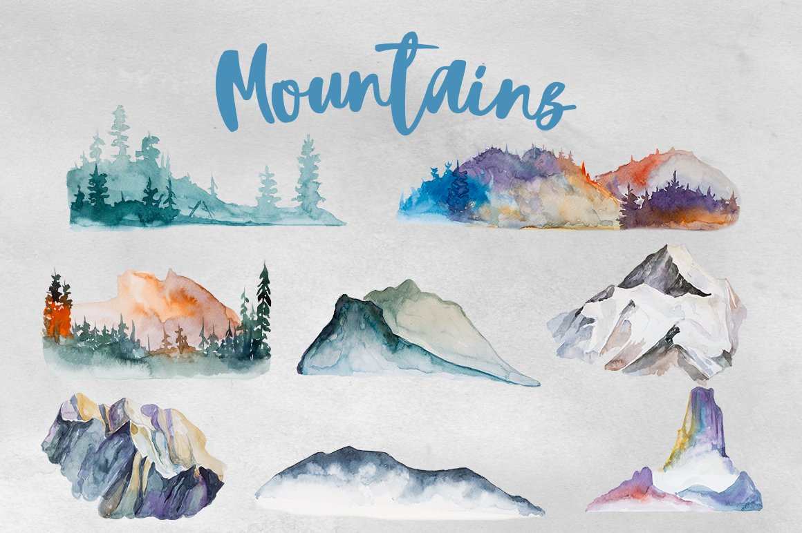watercolor mountains clipart illustrations creative market