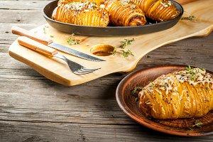 Cheesy Hasselback Potato