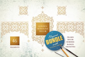 Golden Monoline Decor.Vector Bundle.