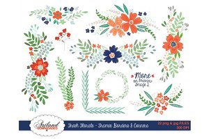 Fresh Florals Frames Borders Corners