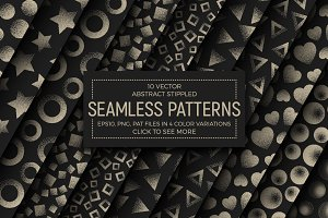 10 Vector Stippled Seamless Patterns