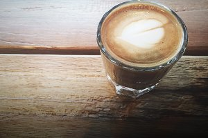 Cortado on a Wooden Table