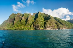 Na Pali coastline taken from sunset cruise along Kauai shore