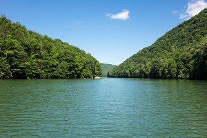 Calm view down Cheat Lake Morgantown