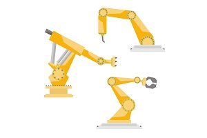 Industrial robots vector set