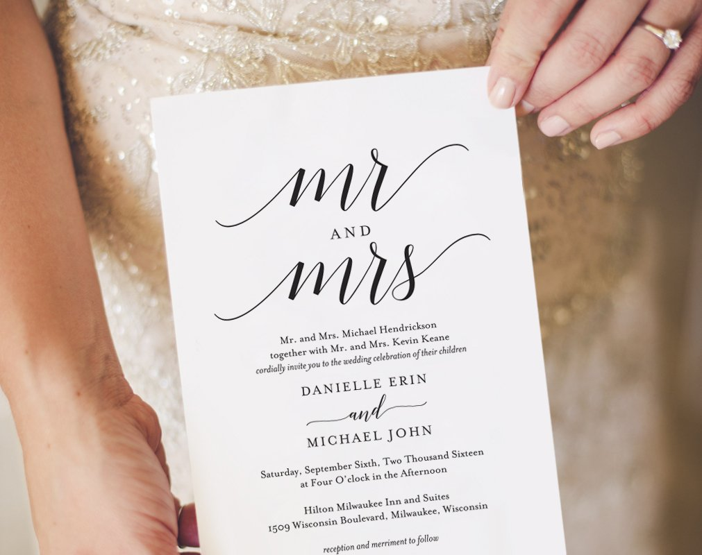 Mr & Mrs Wedding Invitation Template ~ Invitation Templates ...