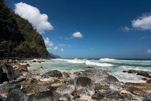 View along Na Pali coast from Ke'e Beach