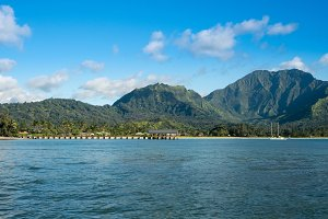 Afternoon view of  Hanalei Bay and Pier on Kauai Hawaii