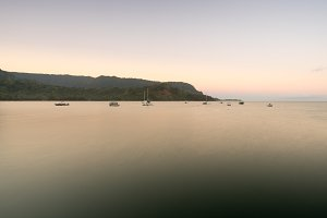 Dawn and sunrise at  Hanalei Bay on Kauai Hawaii