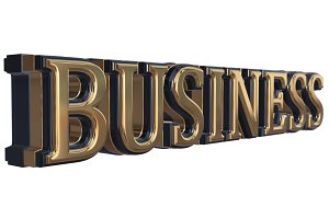 Golden Business 3D Text Isolated
