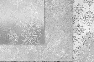 Silver Shimmer Damask Textures
