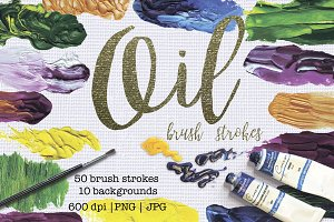 50 oil brush strokes textures