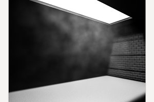 Dark concrete empty room interior.