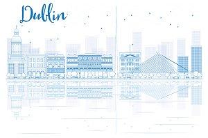 Outline Dublin skyline
