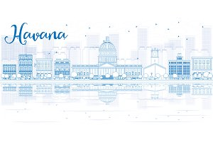 Outline Havana skyline