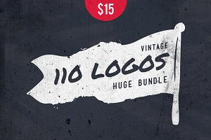 110 Vintage Logos Bundle • 50% off